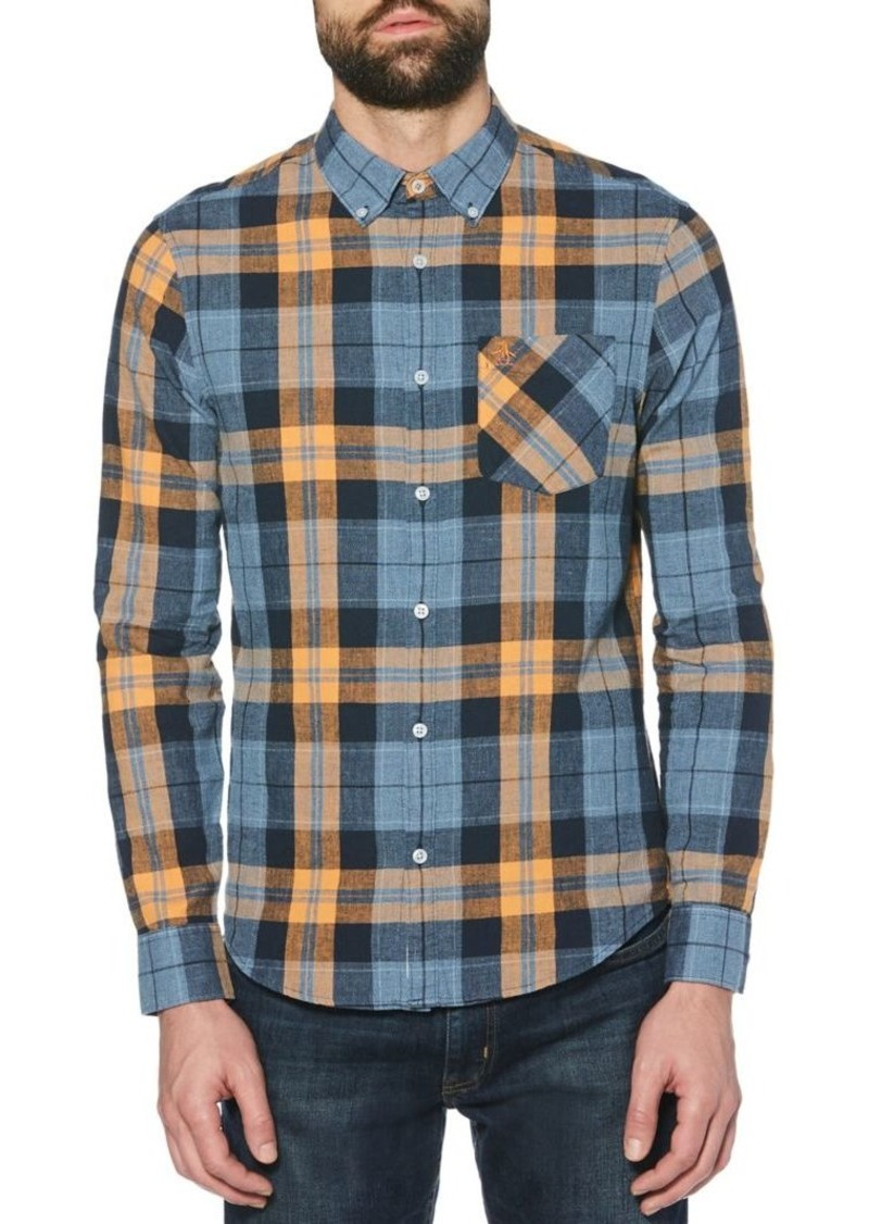 Original Penguin Jaspe Roadmap Plaid Button-Down Stretch Shirt