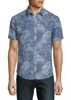 Original Penguin Leaf-Print Cotton Button-Down Shirt