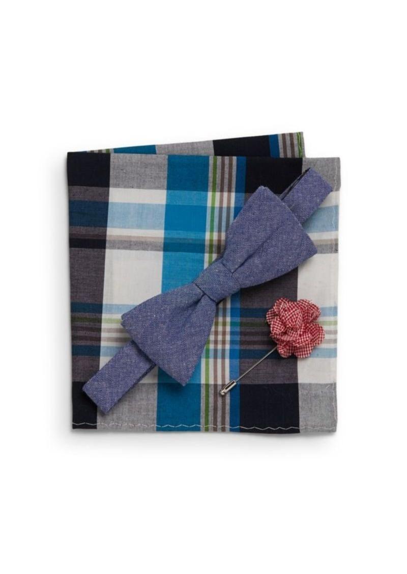 Original Penguin Lolita Bow Tie, Gingham Flower Pin, Plaid Pocket Square Gift Set