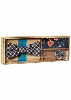 Original Penguin Men's 3-Piece Plaid & Check Tie Pocket Square & Lapel Pin Box