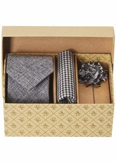 Original Penguin Men's 3-Piece Solid Tie Pocket Square & Lapel Pin Box Grey