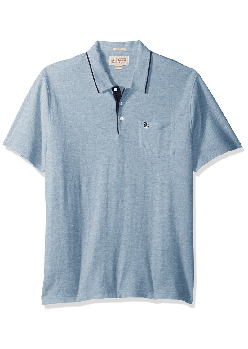 Original Penguin Men's Birdseye Pique Marl 3 Button Polo with Pocket