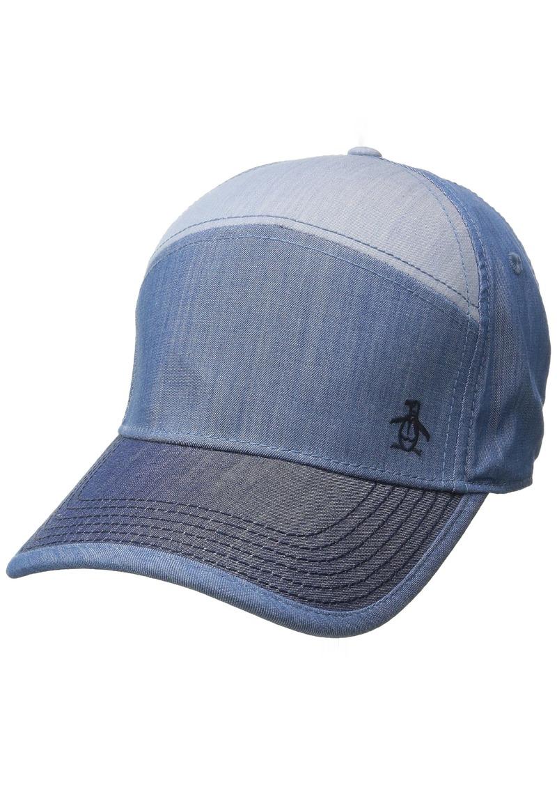 11c02c1fea506 Men s Color-blocked Chambray Baseball Dad Hat indigo denim. Original Penguin