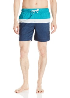 Original Penguin Men's Colorblocked Elastic Waist Swim Trunk