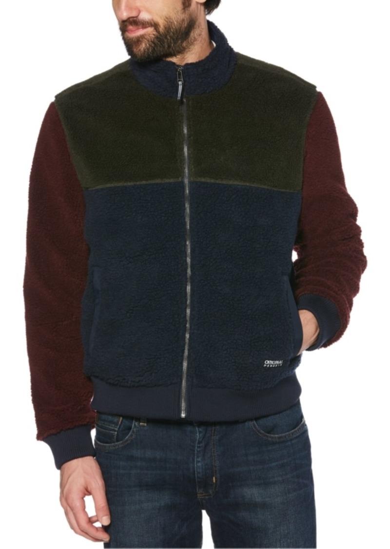 Original Penguin Men's Colorblocked Fleece Full-Zip Bomber Jacket