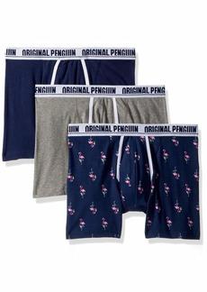 Original Penguin Men's Cotton Stretch 3 Pack Boxer Brief Light Grey Heather Medieval Blue XL
