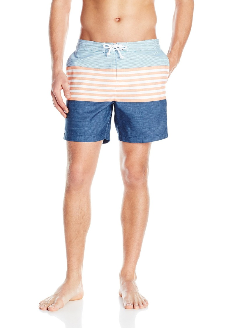 2d338026fb Men's Engineered Stripe Faux Slub Print Fixed Volley Swim Trunk. Original  Penguin