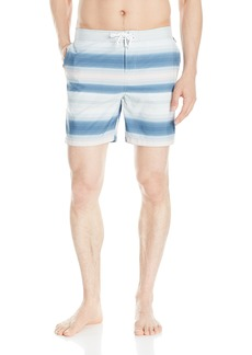 Original Penguin Men's Engineered Stripe Fixed Waist Swim Trunk