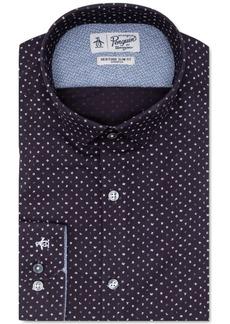 Original Penguin Men's Heritage Slim-Fit Comfort Stretch Navy Blue Letter-Print Dress Shirt