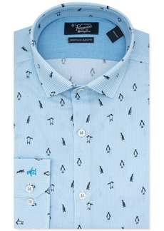 Original Penguin Men's Heritage Slim-Fit Performance Stretch Penguin-Print Stripe Dress Shirt