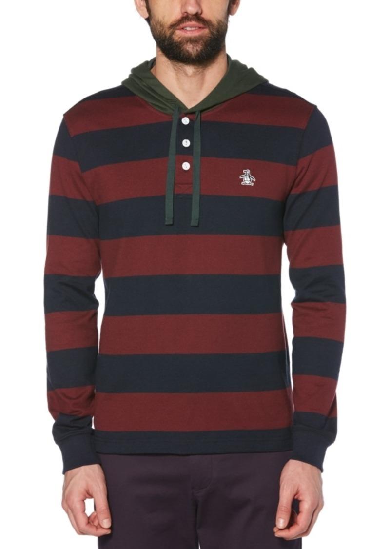 Original Penguin Men's Hooded Stripe Rugby Shirt