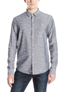 Original Penguin Men's Long-Sleeve Chambray Tennis Racquet Print Button-Down Shirt