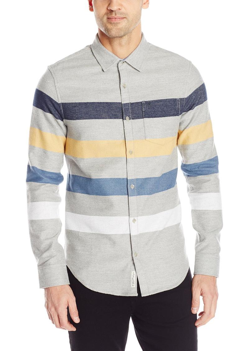 Original Penguin Men's Long Sleeve Engineered Stripe Button Down Shirt