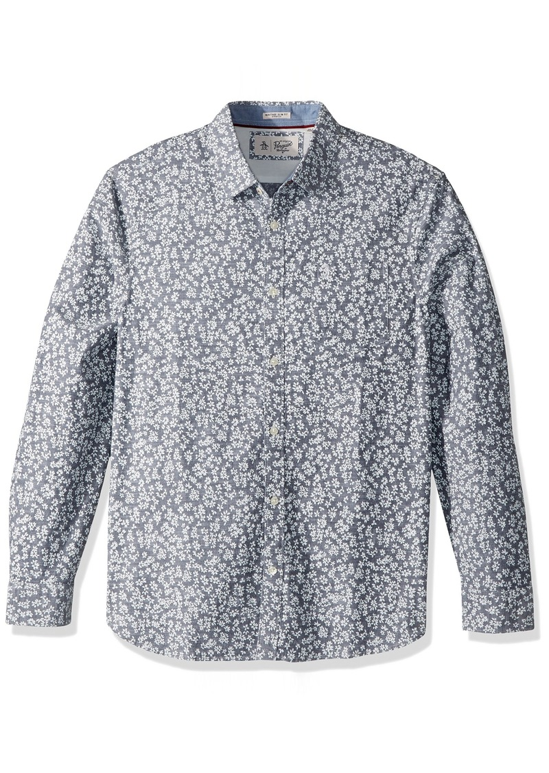 Original Penguin Men's Long Sleeve Floral Print  Extra Extra Large