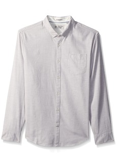 Original Penguin Men's Long Sleeve Heathered Twill Shirt Rain