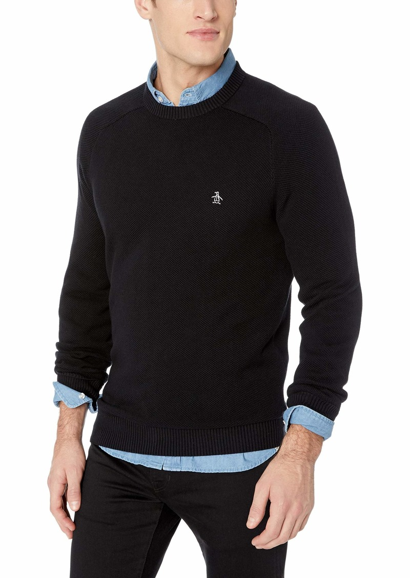 Original Penguin Men's Long Sleeve Honeycomb Sweater