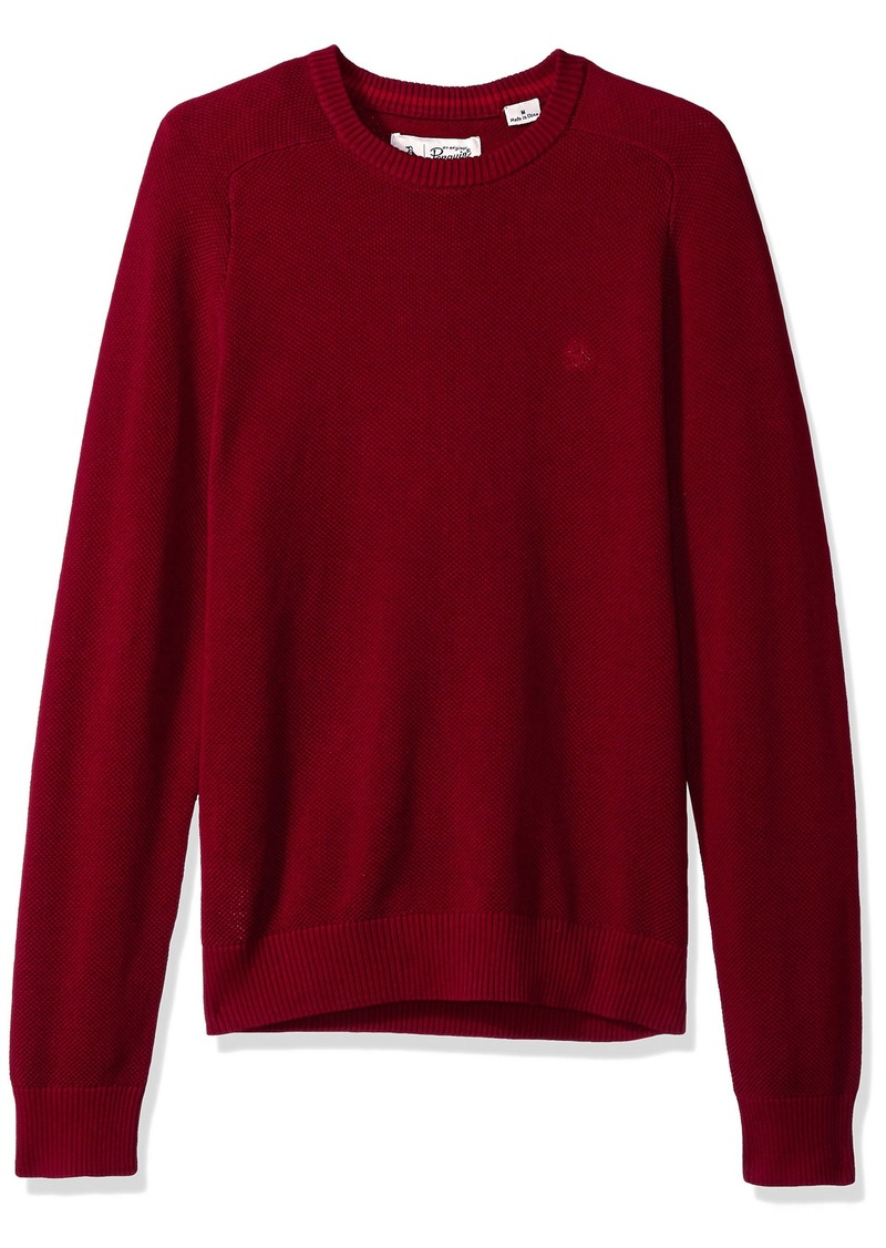 Original Penguin Men's Long Sleeve Honeycomb Sweater pomegranate