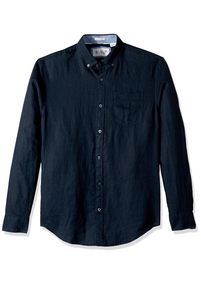 Original Penguin Men's Long Sleeve Linen Shirt  Extra Extra Large