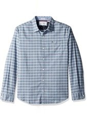 Original Penguin Men's Long Sleeve Mini Plaid Stretch Oxford Shirt