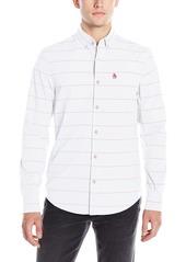 Original Penguin Men's Long Sleeve Neon Stripe Button Down Shirt