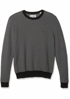 Original Penguin Men's Long Sleeve Patterned Sweater black X Large