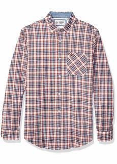 Original Penguin Men's Long Sleeve Plaid Button Down Shirt Faded denim dobby Check S