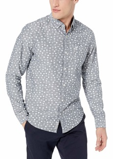 Original Penguin Men's Long Sleeve Printed Button Down Shirt dark sapphire chambray L