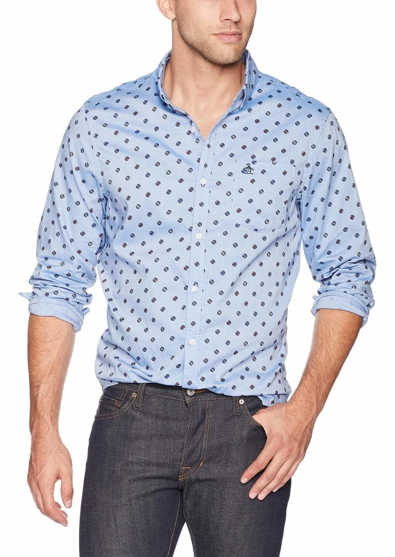 Original Penguin Men's Long Sleeve Printed Button Down Shirt  XXL