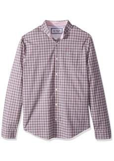Original Penguin Men's Long Sleeve Stretch P55 Plaid crabapple