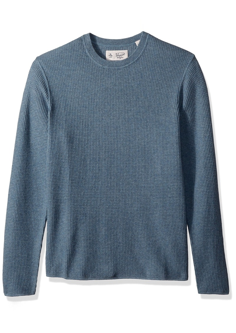 Original Penguin Men's Long Sleeve Waffle Stitch Crew