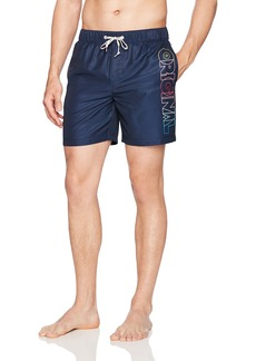 Original Penguin Men's Ombre Logo Elastic Waist Swim Trunk