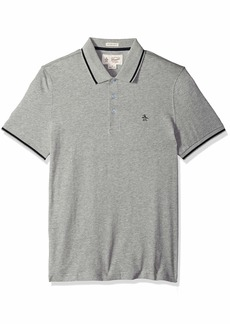 Original Penguin Men's Polo with Contrast Tipping rain Heather Extra Large