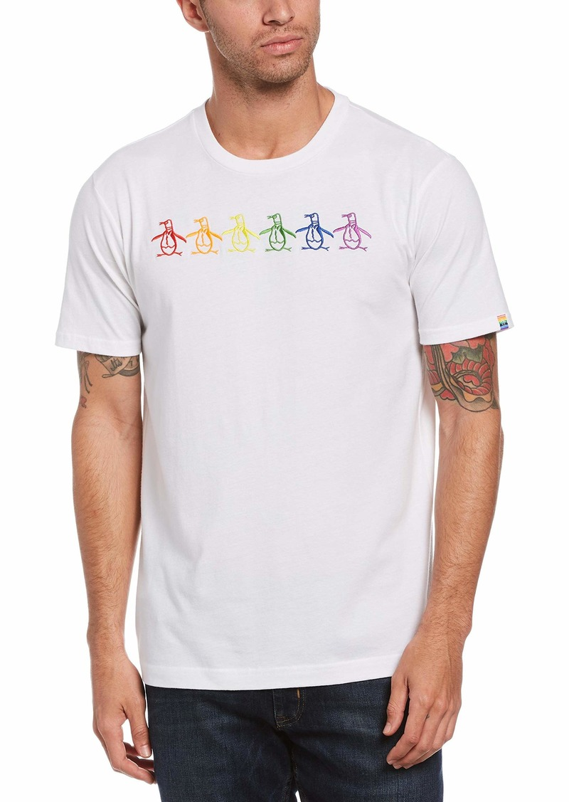 Original Penguin Men's Pride Rainbow Pete Short Sleeve Tee Shirt  X Large