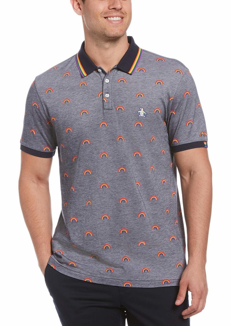 Original Penguin Men's Pride Rainbow Print Tipped Collar Polo Shirt  X Large