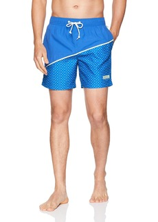 Original Penguin Men's Printed Elastic Volley Swim Short Turkish sea
