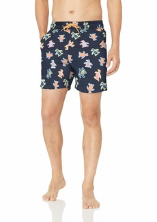 Original Penguin Men's Printed Elastic Waist Volley Swim Short  L