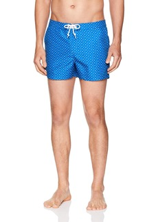 Original Penguin Men's Printed Fixed Waist Box Swim Short Turkish sea