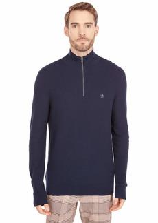 Original Penguin Men's Quarter Zip Tuck Stitch Long Sleeve Sweater  X Large