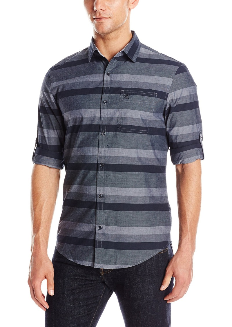 Original Penguin Men's Roll Sleeve End Stripe Button Down Shirt