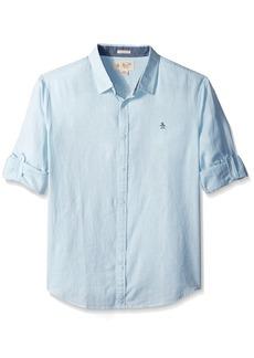 Original Penguin Men's Roll Sleeve Linen Blend End Shirt