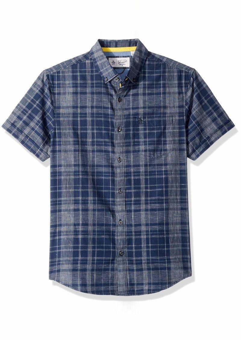 Original Penguin Men's Short Linen Yarndye Plaid Shirt  Extra Extra Large