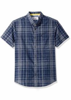 Original Penguin Men's Short Linen Yarndye Plaid Shirt  Extra Large