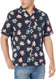 Original Penguin Men's Short Sleeve Camp Collar Button Down Shirt  L