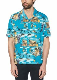 Original Penguin Men's Short Sleeve Camp Collar Button Down Shirt  X Large