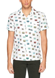 Original Penguin Men's Short Sleeve Cassette Print On Dobby