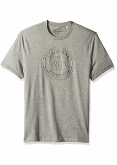 Original Penguin Men's Short Sleeve Circle Logo Tee rain Heather Embossed XL