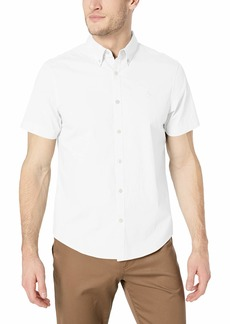 Original Penguin Men's Short Sleeve Core Poplin Button Down Shirt with Stretch  S