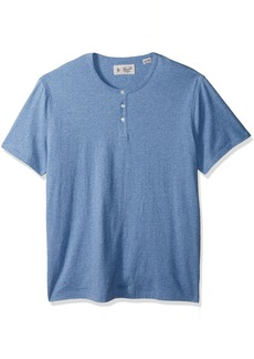 Original Penguin Men's Short Sleeve Cotton Heathered Henley