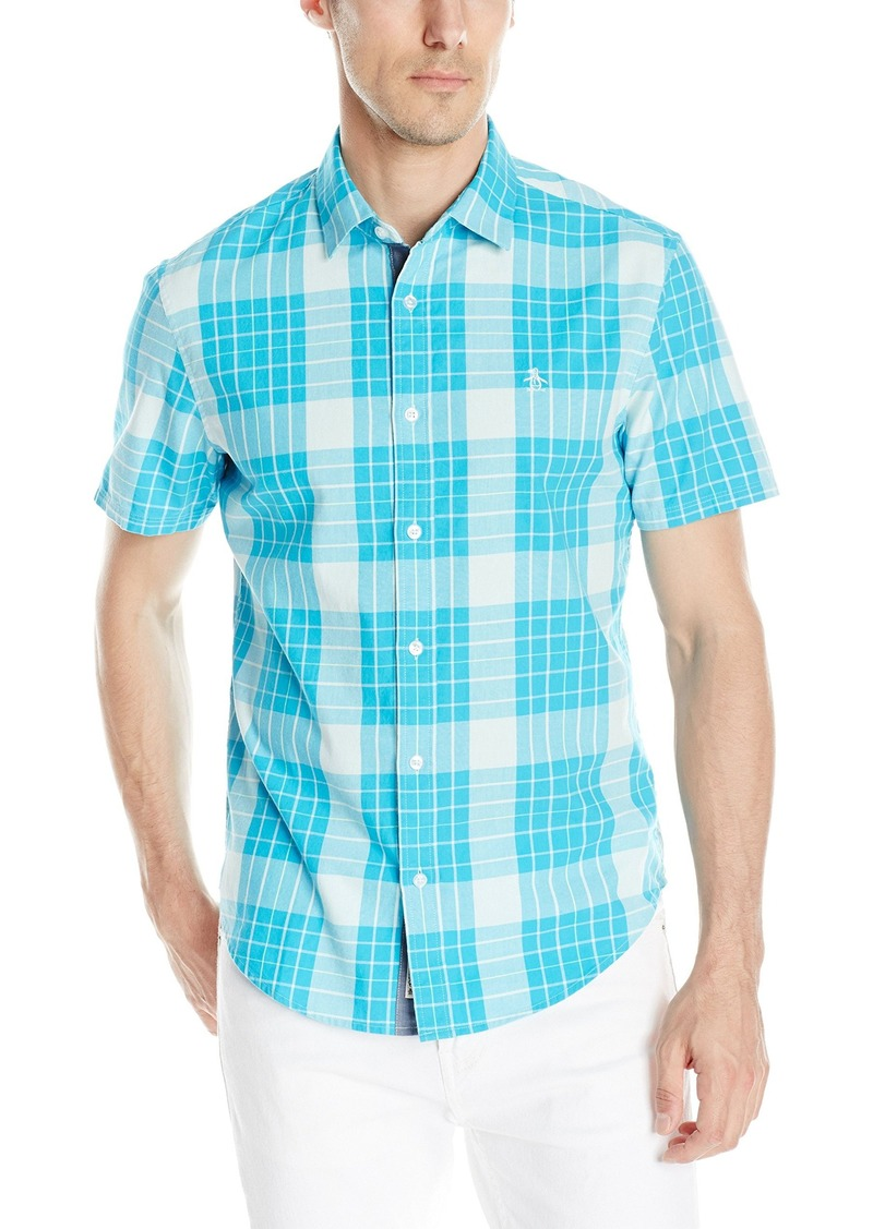 Original Penguin Men's Short Sleeve Even Plaid Button Down Shirt