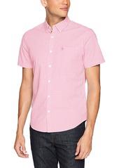 Original Penguin Men's Short Sleeve Gingham Button Down Shirt fuchsia pink